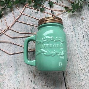 Davids Tea mason jar mug mint green infuser cup